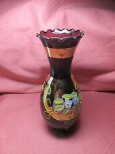 HANDPAINTED TALL AMETHYST AND GOLD RAISED FLOWER VASE