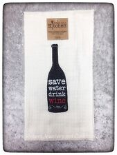 KAY DEE SAVE WATER DRINK WINE EMBROIDERED WAFFLE KITCHEN TOWEL FREE SHIP US