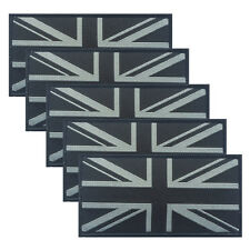 More details for qty: 5 x black/ grey woven iron/sew on union jack uk british flag patch