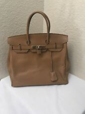 Handmade Designer Inspired Birkin Style Tan Leather Handbag w/ Locks