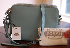 NWT Fossil Sydney Leather Crossbody Sea Glass Light Green Dustbag