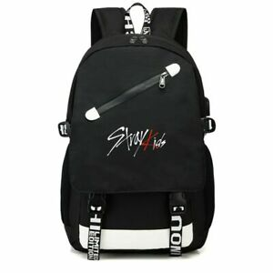 Kpop Stray Kids Nylon Backpack School Satchels Casual Laptop with USB Jack Hole