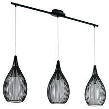 Lampadario moderno 3 luci nero con vetro satinato bianco GLO 94389 Razoni