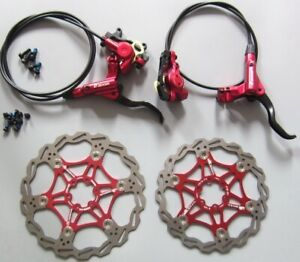 MTB bike Hydraulic Disc Brakes Calipers Front Rear lever Rotor red 160/180/203mm