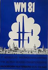 Segelflug WM 81 Paderborn Haxterberg, original Poster Plakat 1981, Segelfliegen