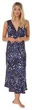 Ladies Womens 'Kendrick' Navy Blue Silky Satin & Lace Long Nightdress