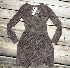 énvi: Long Sleeve Faaix Wrap Dress XS NWT Brown And Cream