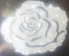 Rose couleur ARGENT Patch termocollant à customiser hotfix Glitter 7 cm SILVER