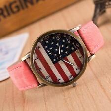 United States USA  Flag Stars and Stripes Quartz  Watch Pink Denim Strap