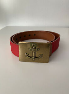 Ralph Lauren Belt Red Fabric And Brown Leather