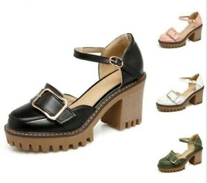 Women Platform Round Toe Buckle Ankle Strap Chunky High Heels Shoes Size34-43 US