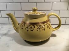 Vintage HALL  Canary Yellow Teapot w/Gold Trim