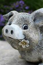 Pig in Rain Boots Eating a Flower 9 inch Resin Outdoor Garden Statue Yard Decor