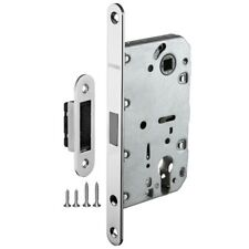 Mortice Door Euro Profile Cylinder Lock Body with Silent Magnetic Latch, Chrome