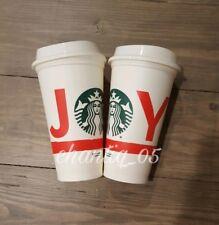 SET of 2 Starbucks 2015 Christmas Edition JOY Reusable White Cup 16oz