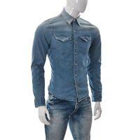 Hollister Uomo con Bottoni Casual Denim Jeans Camicia Manica Lunga Due Tasca S