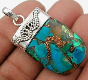 Natural Copper Arizona Turquoise 925 Sterling Silver Pendant NW3-7