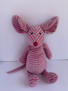 "Jellycat Bonbon Mouse Striped Plush Beanie Toy Stuffed Animal Pink Gray 10"""