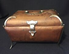 Antique Footed Leather Box with Metal Handle and Tufted Interior