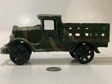 Vintage Replica Cast Iron Toy Flat Bed Camouflage Truck