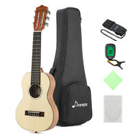 "Donner 28"" Guitar Ukulele  6 String Spruce Mahogany Body with Case Tuner Strap"