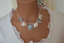 Bettelkette Statement Halskette Grau-Blau Silber Collier Kreise SP1001
