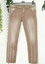 PLEASE Damen Jeans Gr. L 40 42 + Beige NUDE  Slim Made in Italy Wash Out  Muster
