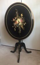 Beautiful Oval Black Flip Top Table Hand Painted Flowers