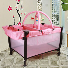 Pink All in 1 Baby Portable TraveL Cot Portacot Bassinet Playpen toy
