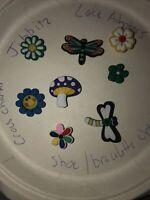 Dragonflys & Flowers Lot Of 8 Crocs Shoe, Bracelet,Lace Adapter Charms,Jibbitz