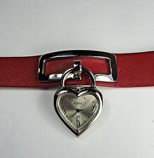 Vtg GUESS Watch Heart Shape Charm Red Leather Band Strap Dangling Women Ladies
