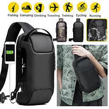 Men's Sling Backpack Oxford cloth Waterproof Anti-theft Crossbody Bag USB Port