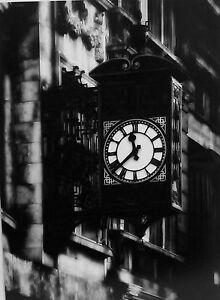"Ornate Street Clock, 16"" x 12"".  Black & White Photograph."