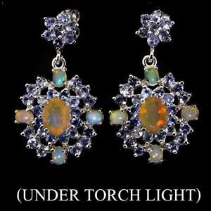 Natural Rainbow Luster Fire Opal, Tanzanite 925 Sterling Silver DANGLE Earrings