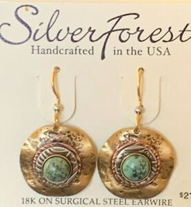 SILVER FOREST GREEN TURQUOISE 18K ON SURGICAL STEEL EAR WIRE DROP DANGLE EARRING