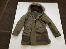 Pre-owned Rugby Ralph Lauren olive winter coat w/ shearling & fur hood - Small
