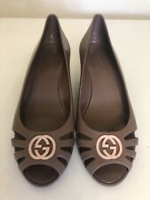 Gucci Marola Jelly Wedge Monogram Gray Shoes Sandals Sz 6 36 Womens