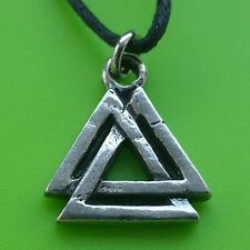 Viking Valknut Pewter Pendant Necklace - Norse - Adjustable, Alloy