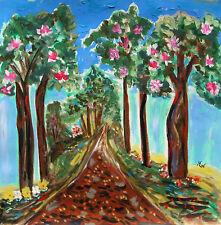 ORIGINAL MIMOSA Landscape  Naive FOLK OUTSIDER Mary Carol  art MCW Visionary