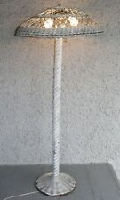 Antique Arts and Crafts Wicker Tall Floor Lamp. Very Old Rattan Light. Charming!
