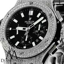 Mens HUBLOT BIG BANG 44FULL ICED OUT GENUINE DIAMONDS LUXURY WATCH. Video inside