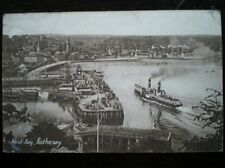 POSTCARD BUTE ROTHESAY WEST BAY SHOWING STEAMER COMING IN TO HARBOUR