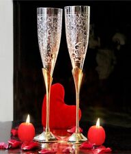Champagne flutes Goblets Champagne Glasses - Two Tone With Red Satin Interior UK