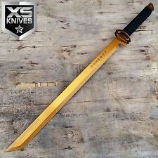 "27"" GOLD Full Tang Blade Machete Tactical Katana Ninja Sword w/Sheath"