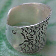 Thai Karen Hill tribe Ring Fish Fine Silver Size.R.Adjustable
