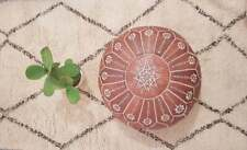 Embroidered Moroccan Genuine Leather Boho Pouf Ottoman Footstool Pouffe Brown