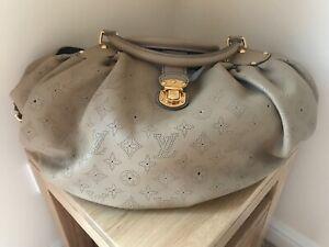 Superb Louis Vuitton Mahina L Sable Taupe Monogram Leather Hobo Bag & Dust Cover