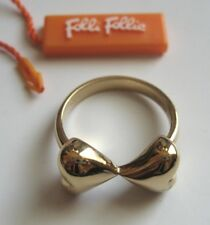 Folli Follie señora anillo doble corazones 925 plata & Gold plated