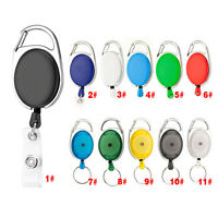 Retractable Pull Keychain Lanyard ID Badge Holder Card Belt Clip Key Ring Buckle