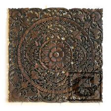 "30"" Square Lotus New Wood Carving Home Wall Panel Mural Decor Art Statue gtasy"